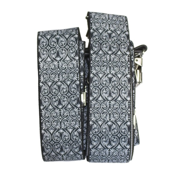 suspenders for men black-white with fine ornaments