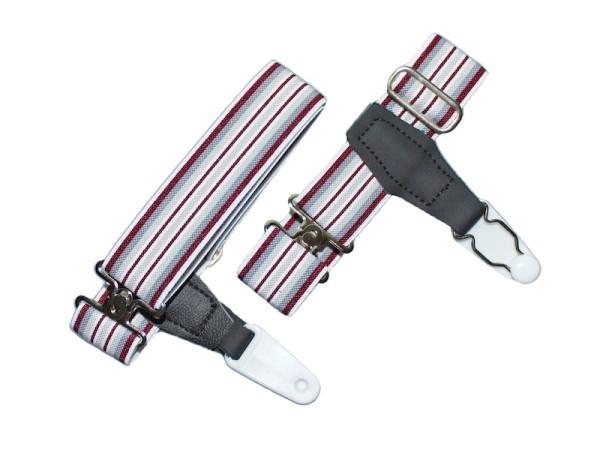 sock garters for men grey-red striped