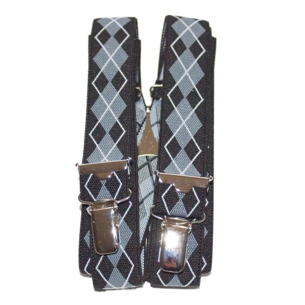 black-gray suspenders with diamonds pattern